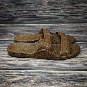 Pali Hawaii Brown Rubber Hawaiian Sandals sz 12